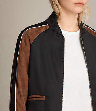 Women's Atley Bomber Jacket (BLACK/RUST RED) - product_image_alt_text_2