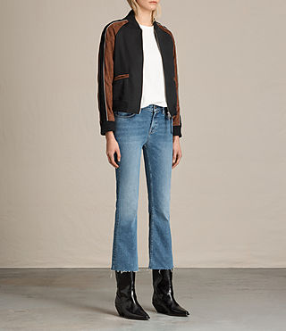 Women's Atley Bomber Jacket (BLACK/RUST RED) - product_image_alt_text_3