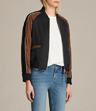 Women's Atley Bomber Jacket (BLACK/RUST RED) - product_image_alt_text_5