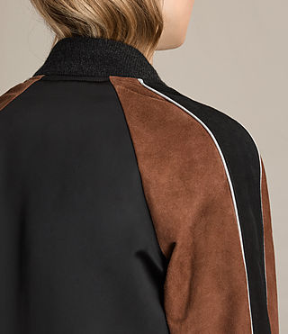 Women's Atley Bomber Jacket (BLACK/RUST RED) - product_image_alt_text_7
