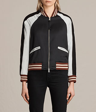 Womens Atley Bomber Jacket (BLACK/LUNA BLUE) - product_image_alt_text_1