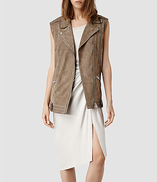 Womens Cohen Leather Gilet (PALE)