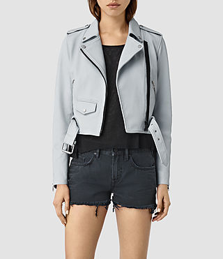 Womens Baron Leather Biker Jacket (Sky Blue)