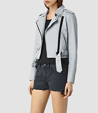 Womens Baron Leather Biker Jacket (Sky Blue) - product_image_alt_text_3