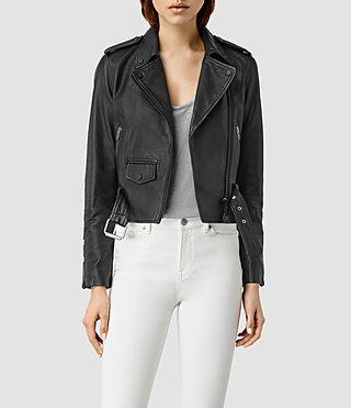 Femmes Baron Leather Biker Jacket (Black)