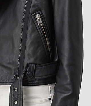 Womens Baron Leather Biker Jacket (Black) - product_image_alt_text_2
