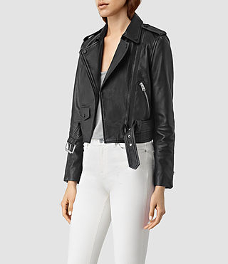 Womens Baron Leather Biker Jacket (Black) - product_image_alt_text_3