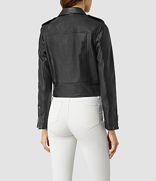 Womens Baron Leather Biker Jacket (Black) - product_image_alt_text_4