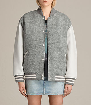 Women's Base Bomber Jacket (LIGHT GREY/OYSTER)