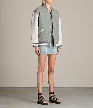 Women's Base Bomber Jacket (LIGHT GREY/OYSTER) - product_image_alt_text_2
