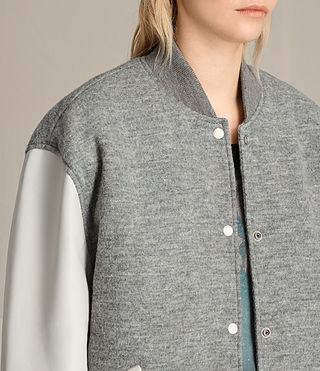 Women's Base Bomber Jacket (LIGHT GREY/OYSTER) - product_image_alt_text_3