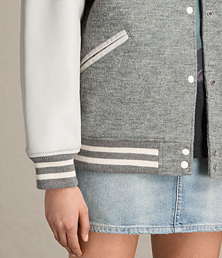 Women's Base Bomber Jacket (LIGHT GREY/OYSTER) - product_image_alt_text_6