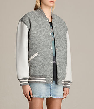 Women's Base Bomber Jacket (LIGHT GREY/OYSTER) - product_image_alt_text_7