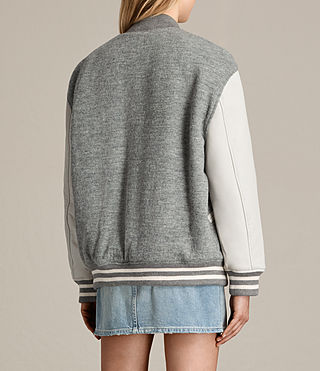 Women's Base Bomber Jacket (LIGHT GREY/OYSTER) - product_image_alt_text_8
