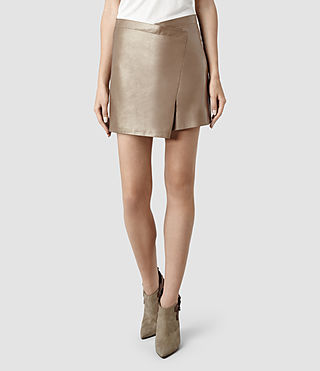Womens Ramona Leather Skirt (Metallic)