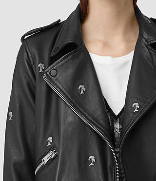 Women's Eaves Leather Stud Biker Jacket (Black)