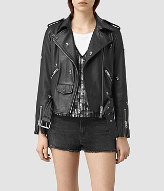 Womens Eaves Leather Stud Biker Jacket (Black) - product_image_alt_text_2