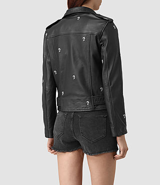 Womens Eaves Leather Stud Biker Jacket (Black) - product_image_alt_text_4