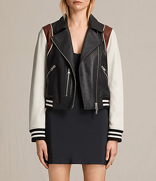 Womens Panel Baseball Balfern Leather Jacket (BLACK/CHALK) - product_image_alt_text_2