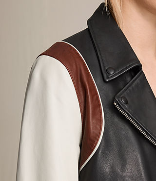 Womens Panel Baseball Balfern Leather Jacket (BLACK/CHALK) - product_image_alt_text_3