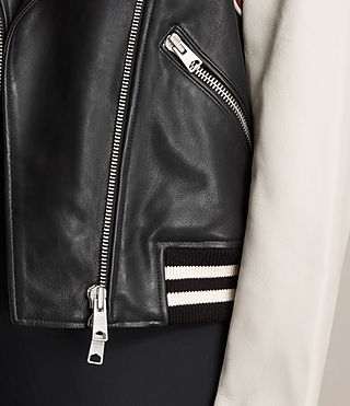 Womens Panel Baseball Balfern Leather Jacket (BLACK/CHALK) - product_image_alt_text_4