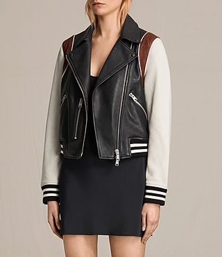 Womens Panel Baseball Balfern Leather Jacket (BLACK/CHALK) - product_image_alt_text_5
