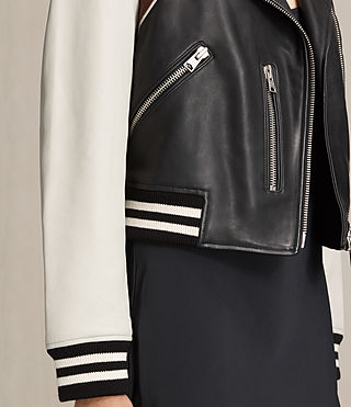 Womens Panel Baseball Balfern Leather Jacket (BLACK/CHALK) - product_image_alt_text_6