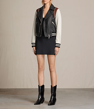 Womens Panel Baseball Balfern Leather Jacket (BLACK/CHALK) - product_image_alt_text_8