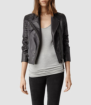 Womens Dorsey Leather Biker Jacket (Slate)