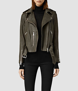Women's Balfern Leather Biker Jacket (DARK ARMY GREEN) -
