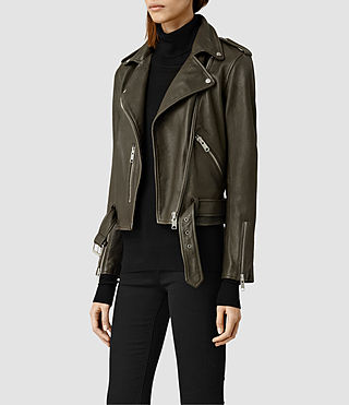 Womens Balfern Leather Biker Jacket (DARK ARMY GREEN) - product_image_alt_text_2