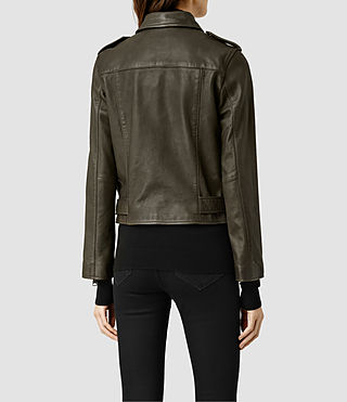 Womens Balfern Leather Biker Jacket (DARK ARMY GREEN) - product_image_alt_text_3