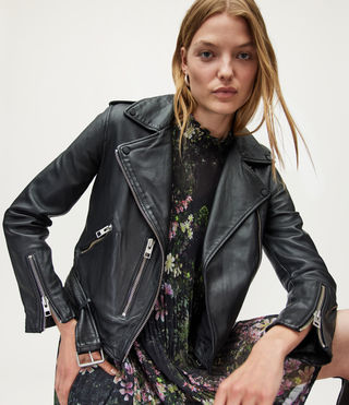 Femmes Balfern Leather Biker Jacket (Black)