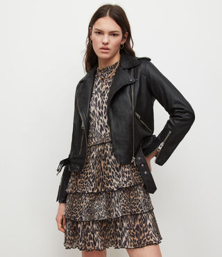 Mujer Balfern Leather Biker Jacket (Black)