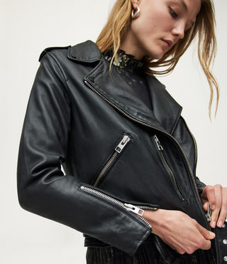 Womens Balfern Leather Biker Jacket (Black) - Image 2