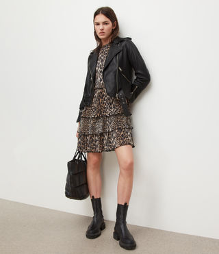 Femmes Balfern Leather Biker Jacket (Black) - product_image_alt_text_3