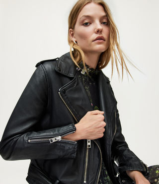 Womens Balfern Leather Biker Jacket (Black) - Image 4