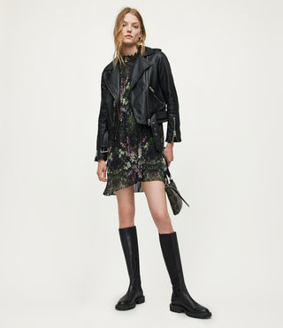 Women's Balfern Leather Biker Jacket (Black) - Image 6