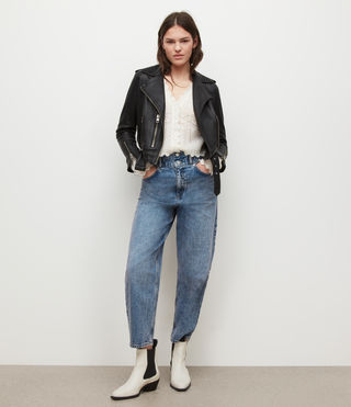 Womens Balfern Leather Biker Jacket (Black) - Image 7