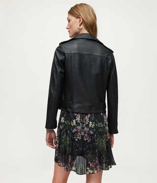 Women's Balfern Leather Biker Jacket (Black) - Image 7