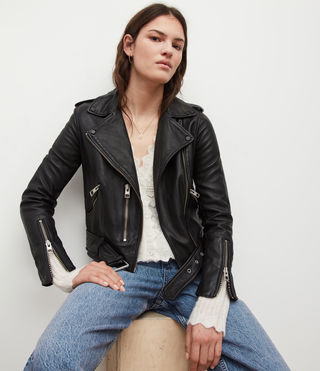 Womens Balfern Leather Biker Jacket (Black) - Image 8