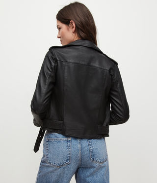 Womens Balfern Leather Biker Jacket (Black) - Image 9