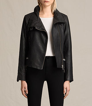 Mujer Bales Leather Biker Jacket (Black)