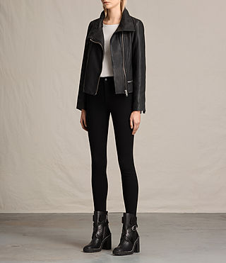 Womens Bales Leather Biker Jacket (Black) - Image 3