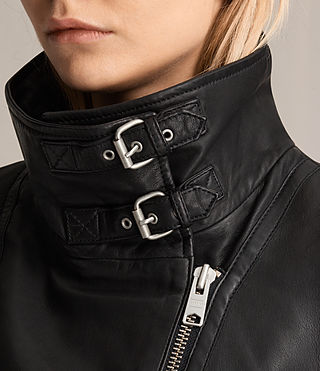 Womens Bales Leather Biker Jacket (Black) - Image 7