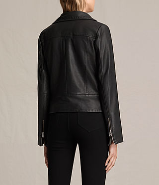 Womens Bales Leather Biker Jacket (Black) - Image 8