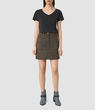 Womens Routledge Suede Skirt (Graphite)