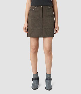 Mujer Routledge Suede Skirt (Graphite) - product_image_alt_text_2