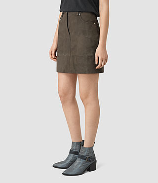 Mujer Routledge Suede Skirt (Graphite) - product_image_alt_text_3