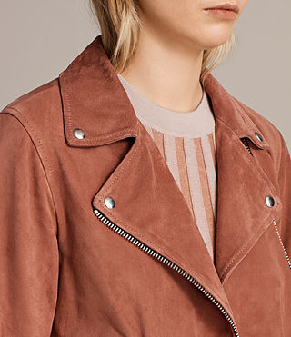 Femmes Suede Cole Biker Jacket (ROSE PINK) - product_image_alt_text_4